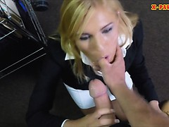Blonde milf pawns her pussy and pounded in storage room