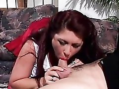 Mature redhead in sexy stockings blow and fuck
