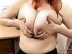 Big natural milf boobs come out of her blouse