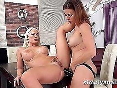 Platinum blonde babe Blanche Bradburry has strapon anal sex