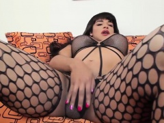 Ebony tgirl in stockings jerking her cock