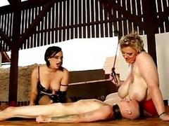 BBW and a Chubby torturing a male slave BDSM threesome