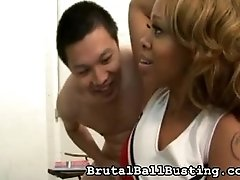 two Asian guys, black student chick