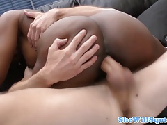 Gushing ebony babe guzzling his cum