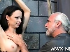 Rough spanking and harsh thraldom on woman's wet crack