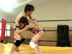 Horny Japanese wrestlers fulfill their desires in the ring