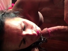 Charming babe deepthroats a fat cock and swallows a hot load