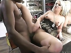 Babe in big shoe closet fucked from behind