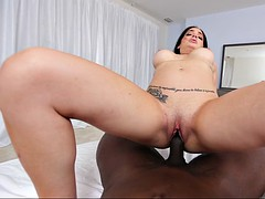 aria rose's pink hole swallowing that black rod like a black hole