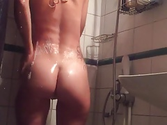 She is taking a shower