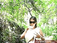 Vanessa Del teases her tits and panties outdoors