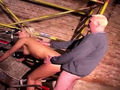 Teen blonde reluctantly rims and fucks an old fat man
