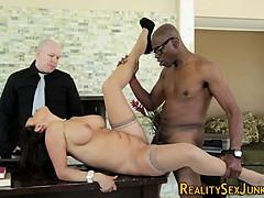 Milf has interracial sex