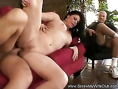 Young guy fucks his milf wife as he watches