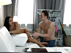 She seduces him with her red panties and bra then gets creampied