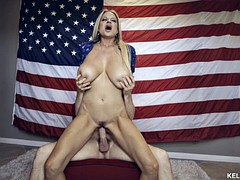 Big titty older blonde fuck hunk before American flag