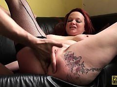 UK redhead sub doggystyled hard until spunked