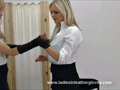 Blondes big tits put sexy leather gloves fondling big tits