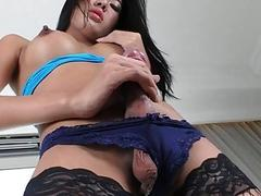 Asian Tranny Nan Plays With Her Cock