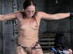 Restrained sub gagged and punished