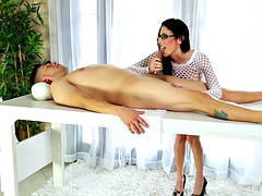 Massage table sucking and stroking