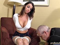 Big tits brunette slut tied up and teased