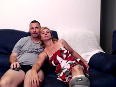 Brunette with foot fetish rubs big dick with her feet in POV