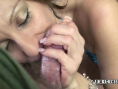 Mature slut Brandi Minx is on her knees and sucking dick