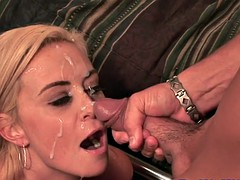 beautiful wife facialized in front of hubby