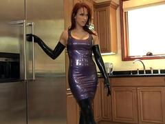 fucking in shiny latex lingerie and high heels clip