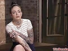 BDSM bound sub slave toyed and fingered until she squirts