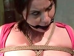 Master drills busty slave's ass after punishing her hard nipples