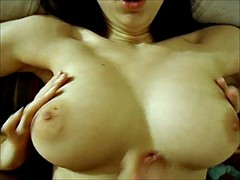 Bit skinny girl with big boobs rides dick