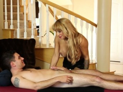 Busty MILF riding cock on the massage table