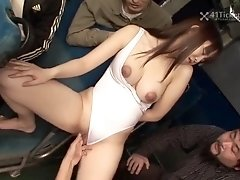 Asian girl in swimsuit molested on the bus