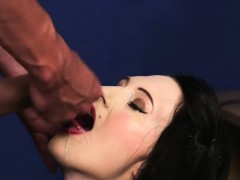 Flirty hottie gets cumshot on her face sucking all the load
