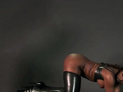Busty ebony mistress punishing and fucking white guy
