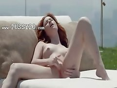 Red graceful summer pussy rubbing