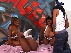 Black bitches in blue bandanas have lesbian orgy
