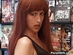 Horny red head slut enjoys in public