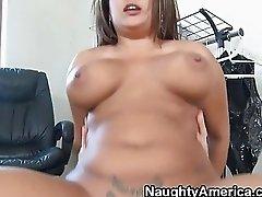 Busty blonde slut gets her shaved pussy ravaged