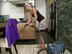 Hot blonde housewife masturbates passionately