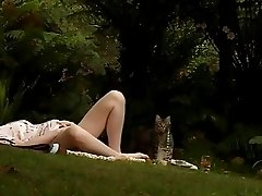 Randy blonde teen plays with her minge outdoor on picknic