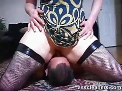 Ass cleaner gets smothered during ass licking session